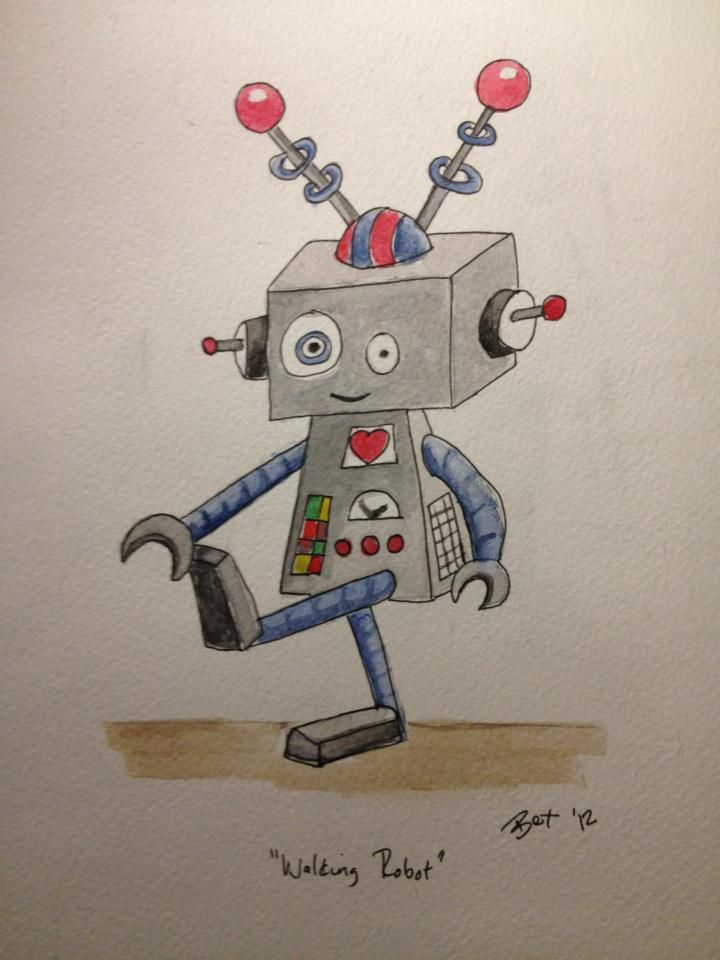 Walking Robot Simple Watercolour Ink Painting Sketch In 2020