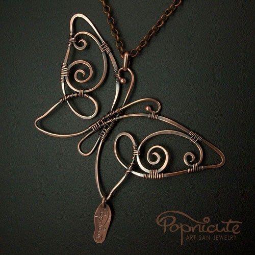 Butterfly Spread Wings Wire Wrapped Copper Pendant Handmade ...