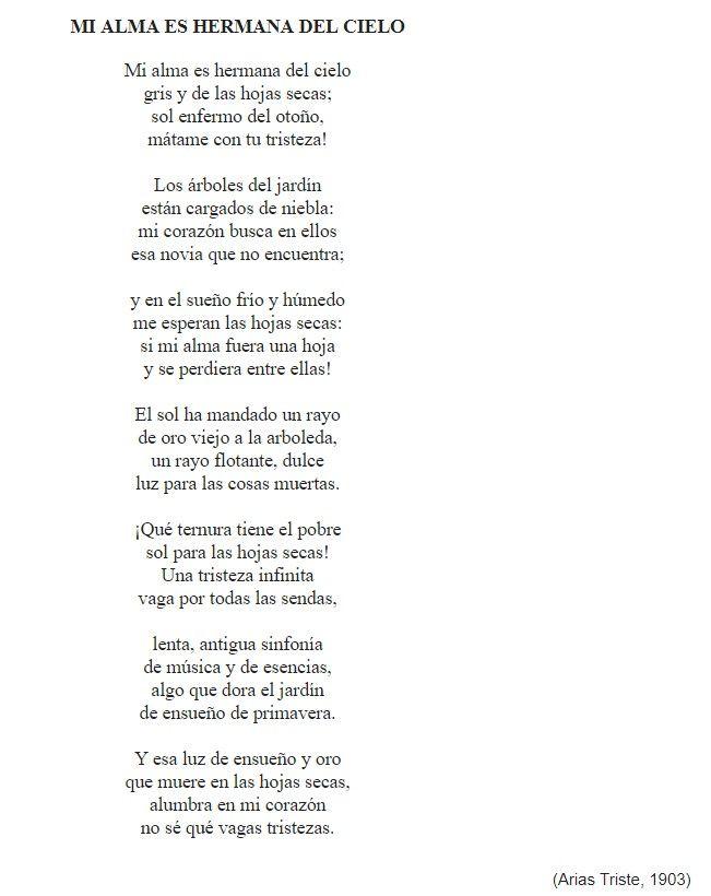 Este Poema Aparece En Arias Tristes Etapa Sensitiva Libro Lanzado Por El Autor En 1903 Hemos Seleccionado Este Poema Porque Poemas Apareciste Tu Emociones