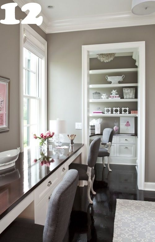 Here\'s a classic home office using a gray and white color pallet ...