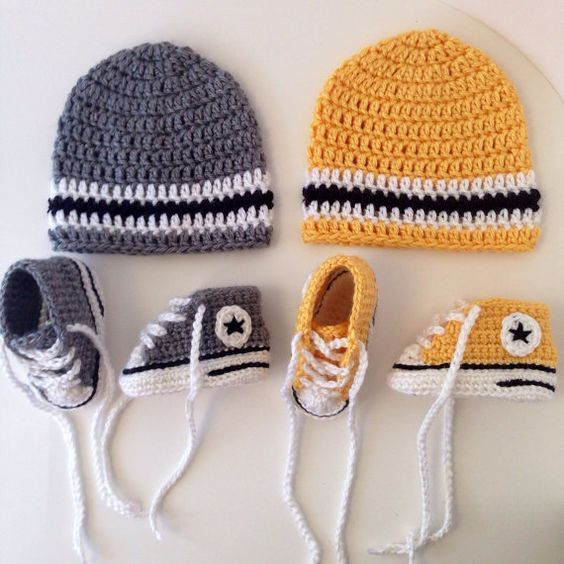 Crochet Converse Sneakers and Hat pattern   Gorros, Bebe y Bebé