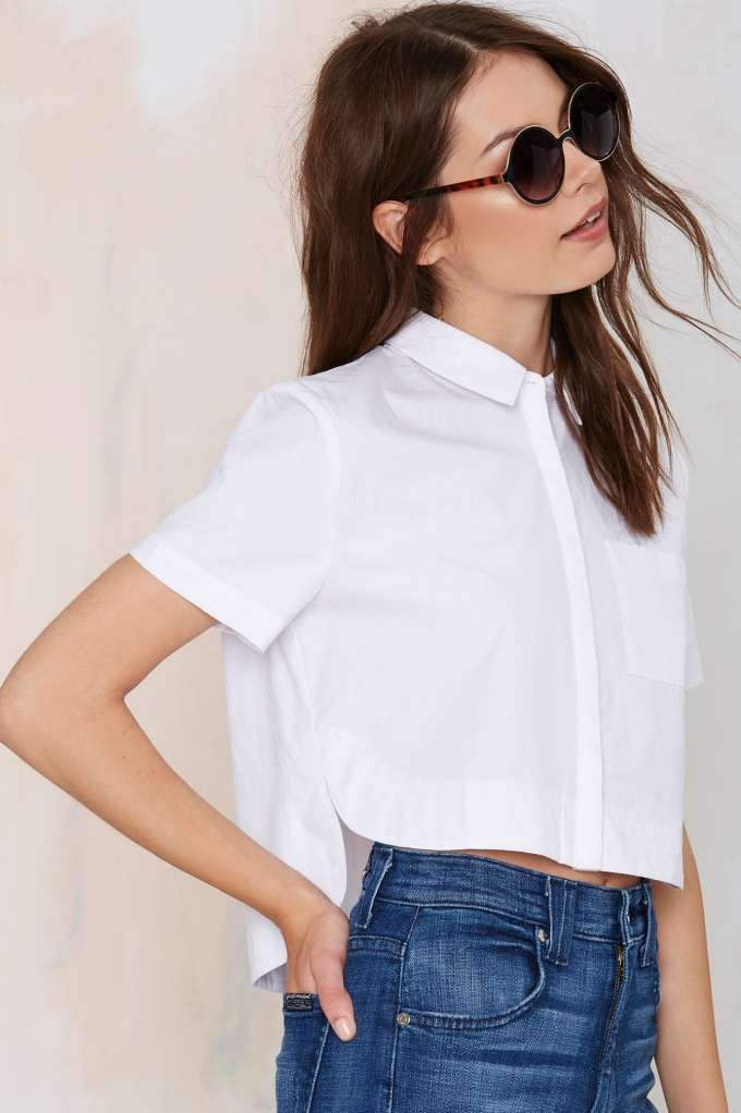 Out of the Box Poplin Crop Top - Cropped