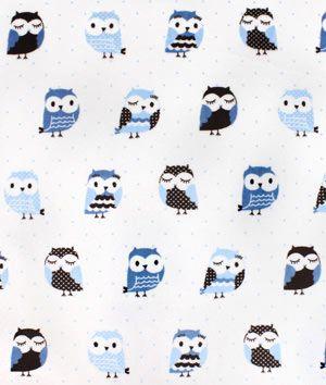 Blue/Brown Owls Minky Fabric - $11.9 | onlinefabricstore.net