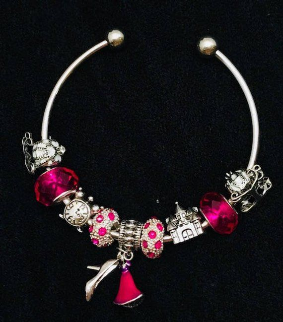 ac2b57ecba2ea Hot Pink Cinderella Bracelet, Princess Charm Bracelet for Women ...