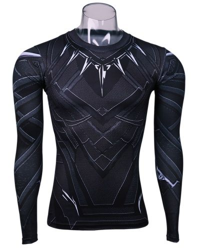 15c3d927 Captain America 3 Black Panther costume t shirt long sleeve superhero  compression shirt for men