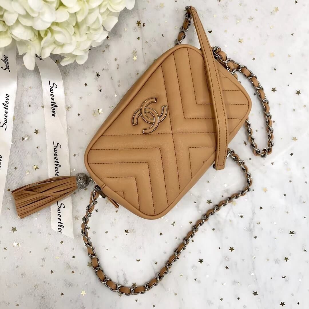 6fe28b1f3ee7 Chanel Calfskin Mini Camera Case Bag A57617 Apricot 2018 | Chanel ...