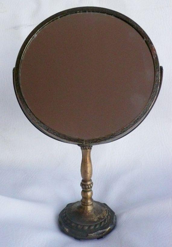 Popular Vintage Brass Vanity Mirror Pedestal Magnify Round by chriscre  - Minimalist Pedestal Mirror HD