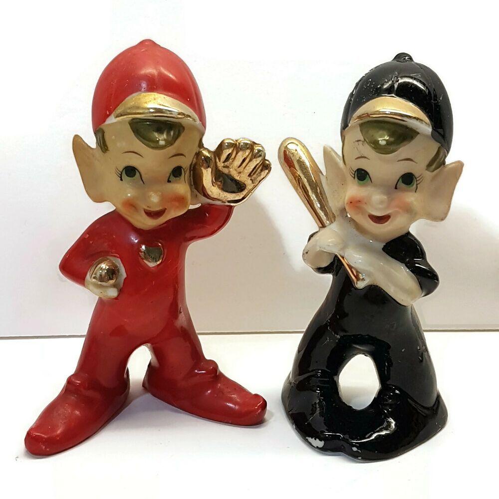 Vintage Baseball Elf ceramic figures Pixie figurine