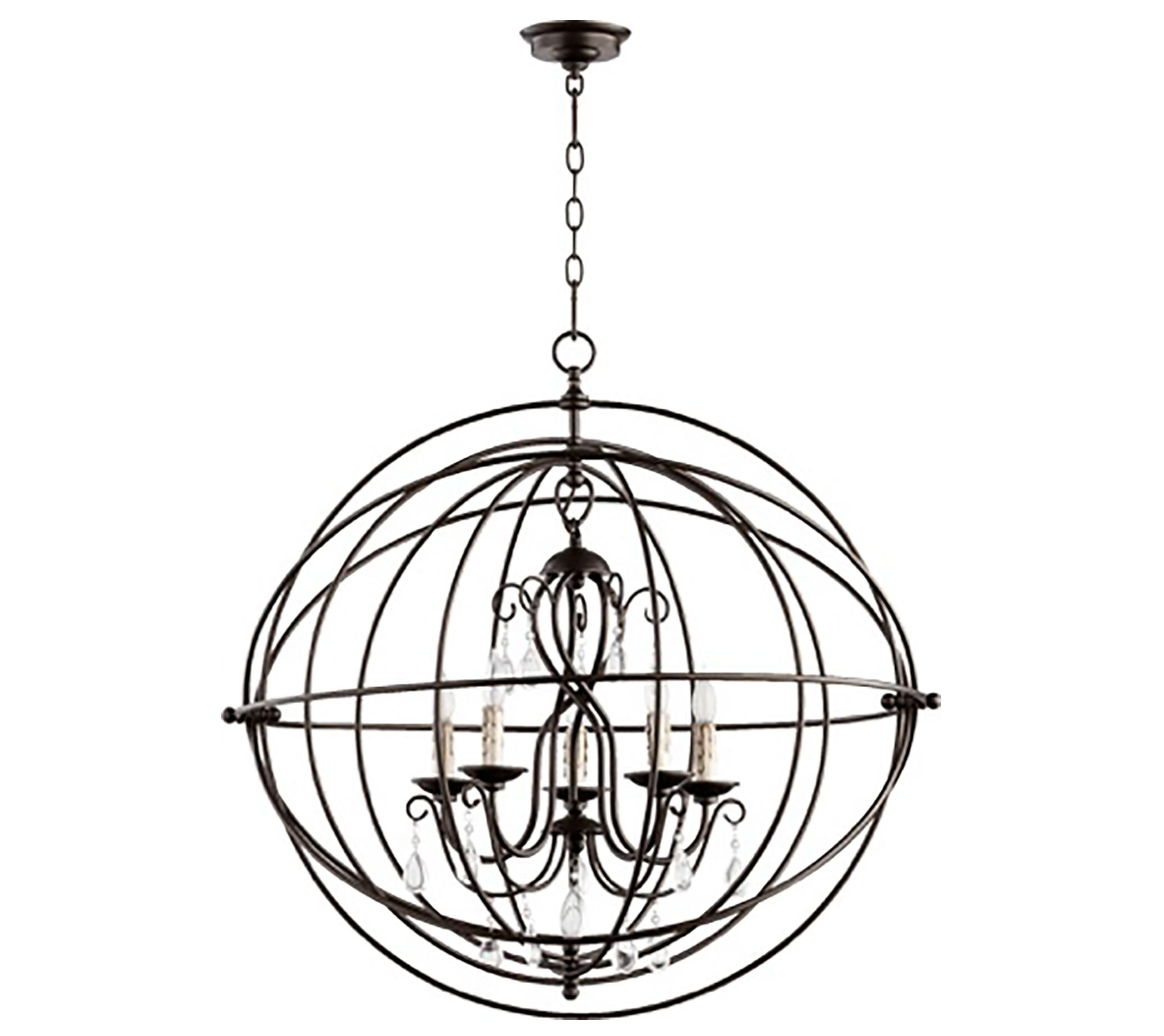 This orb chandelier can visually soften the hard straight lines