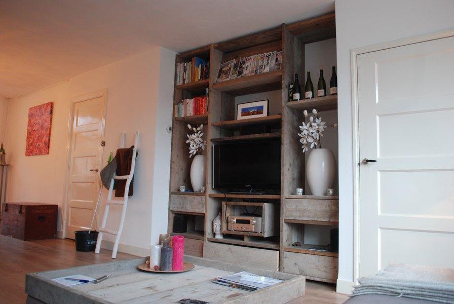 Steigerhouten Tv Kast : Tv kast boekenkasten van gebruikt steigerhout met 5 soft close