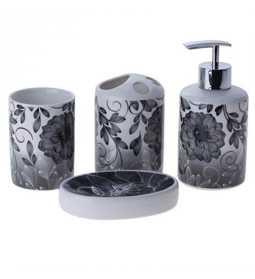 S_4 PORCELAIN BATHROOM SET BLACK AND WHITE | Household \'\'Bathroom ...