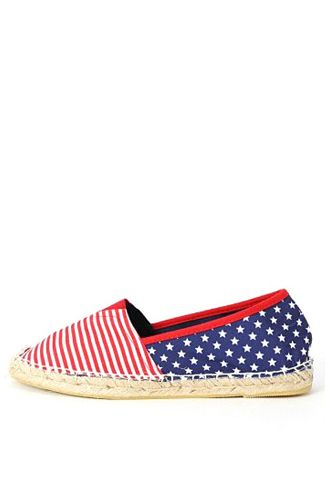 $45 So you're going to celebrate 4th of July at a festive barbecue? Well, put these on already! Red, white, and blue American flag cloth patch worked onto each panel, traditional espadrille sole with white stitching at bottom.  * Imported