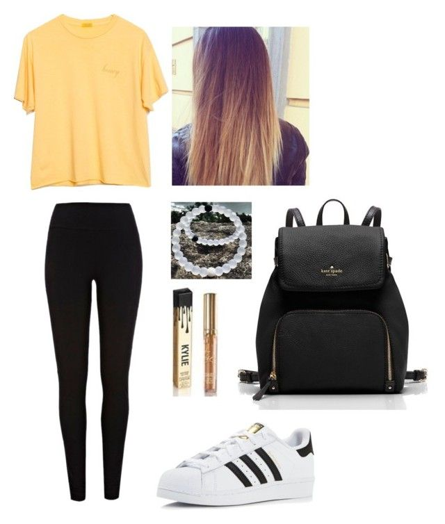 """School Outfit #4"" by nataliehurray ❤ liked on Polyvore featuring River Island, adidas, Kate Spade and Kylie Cosmetics"
