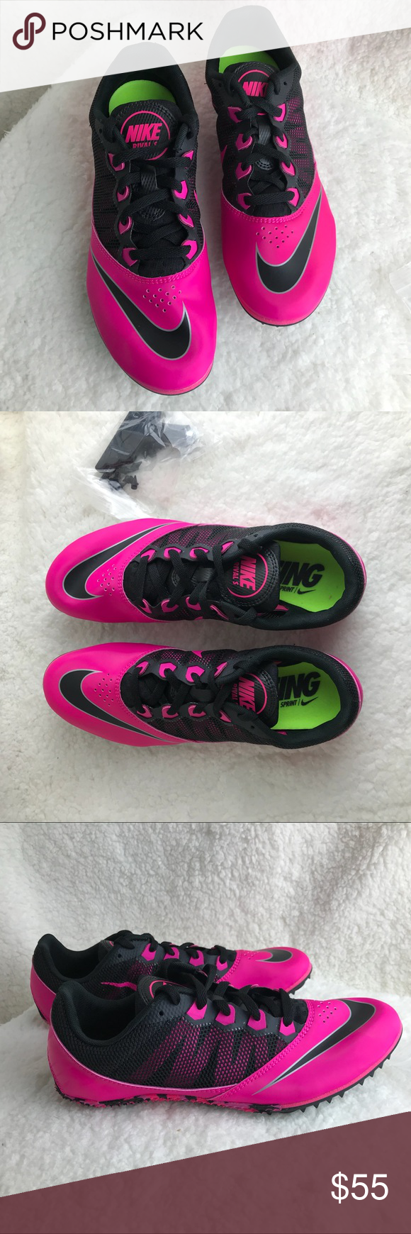 134015e73 Neon hot pink new track shoes women 8 1 2 New without box neon hot pink  with spikes and tool track running shoes. Pet free smoke free home.