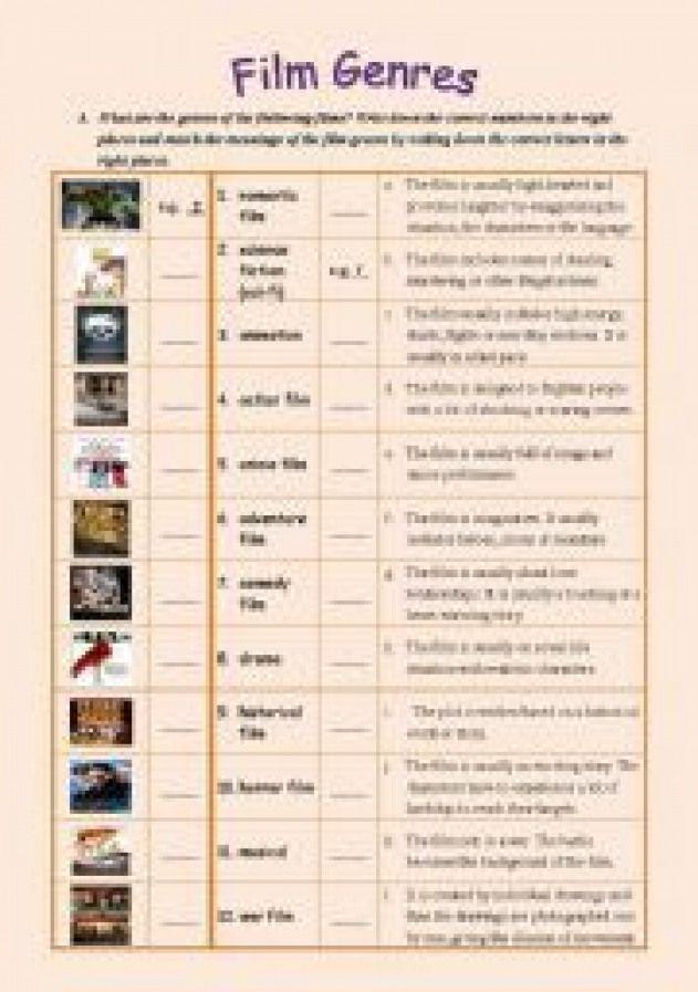 English worksheet Film Genres