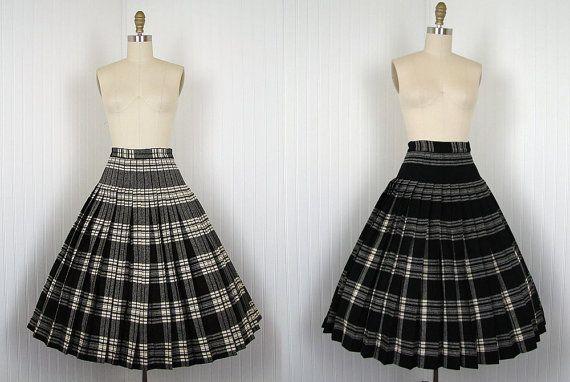 dff0e469d 1950s Full Skirt 50s Pendleton Wool Turnabout by jumblelaya, $36.00 Plaid  Pleated Skirt, Midi