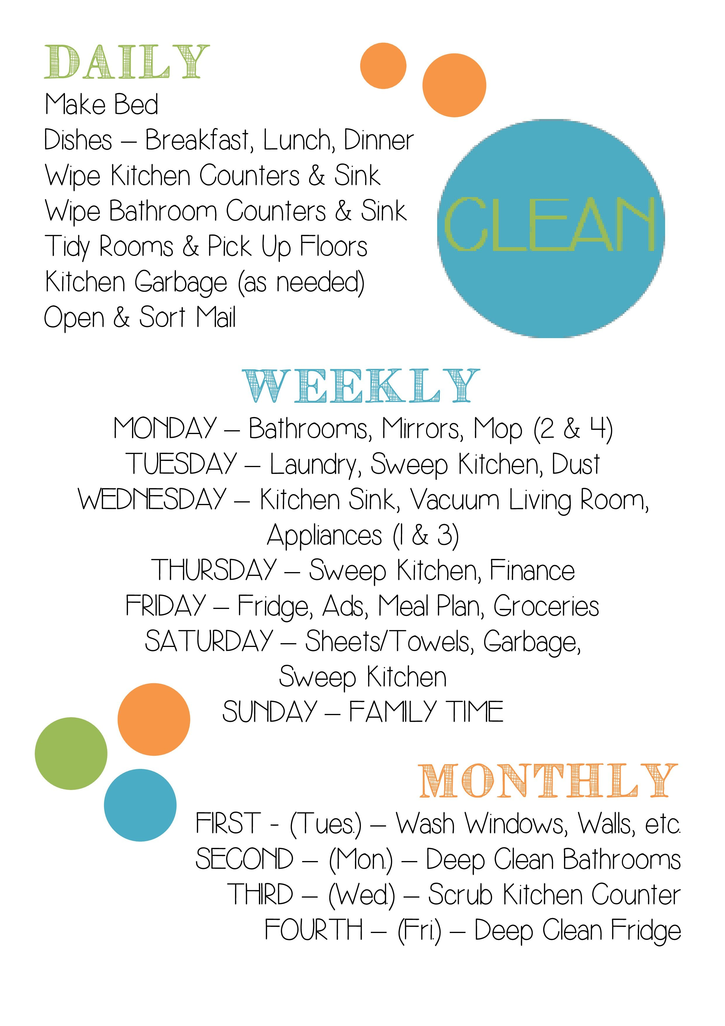 My Daily, Weekly, And Monthly Cleaning Chart
