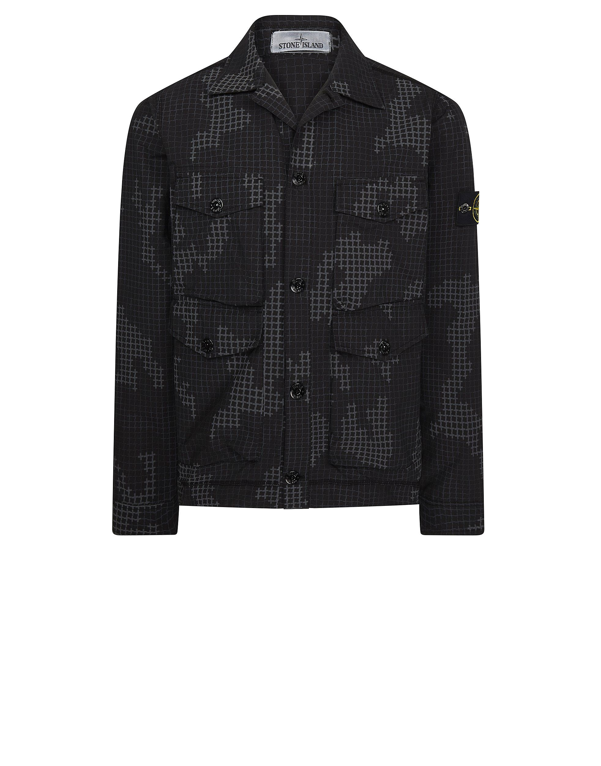 bd44ce2f53c54 112E3 FULL COMPACT RIP STOP GRID CAMO Overshirt in Black | Fashion ...