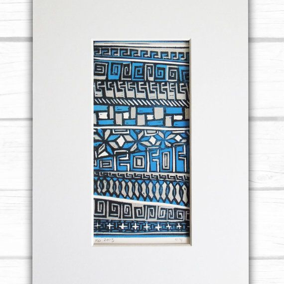Abstract primitive pattern lino print with mount by Kim Osborne