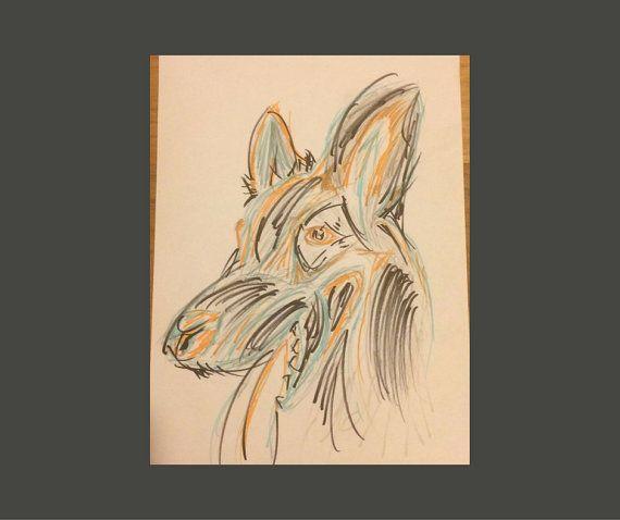 German Shepherd Drawing 8X10