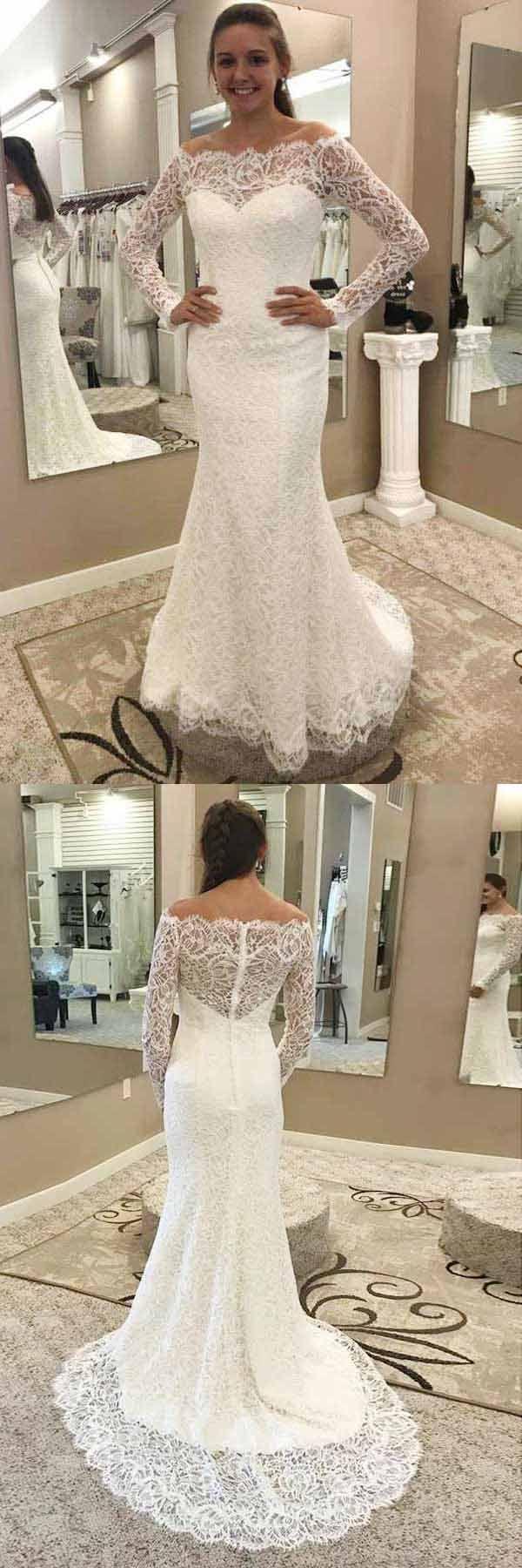 Mermaid dress wedding  Mermaid OfftheShoulder Lace Wedding Dress with Long Sleeves WD