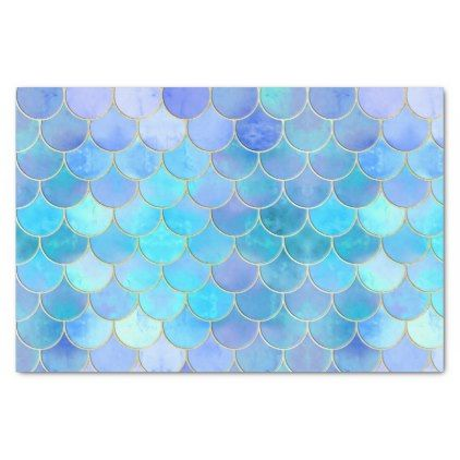 aqua pearlescent gold mermaid scale pattern tissue paper in 2018