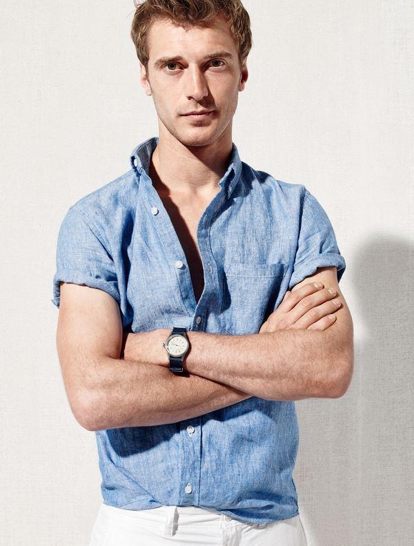 e307528e2 J.Crew men's short-sleeve délavé Irish linen shirt. | Campaign in ...