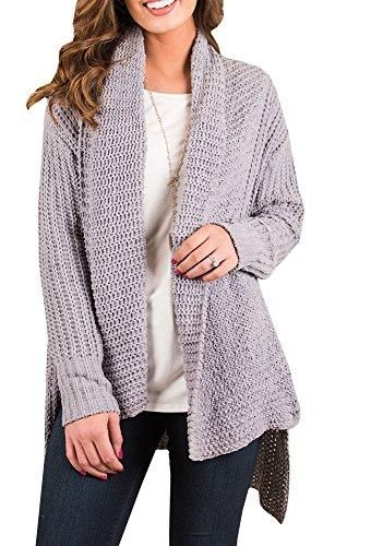 d9e3ac766 FISACE Women s Loose Fit Long Sleeve Knitted Cardigan Sweaters Outerwear  with Pocket
