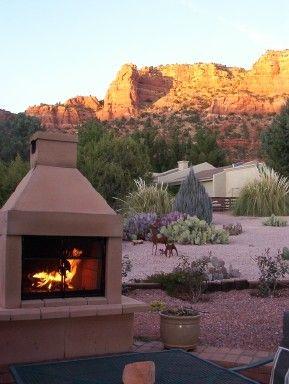 Mirage Stone Fireplace Enjoying Sedona Az Outdoor
