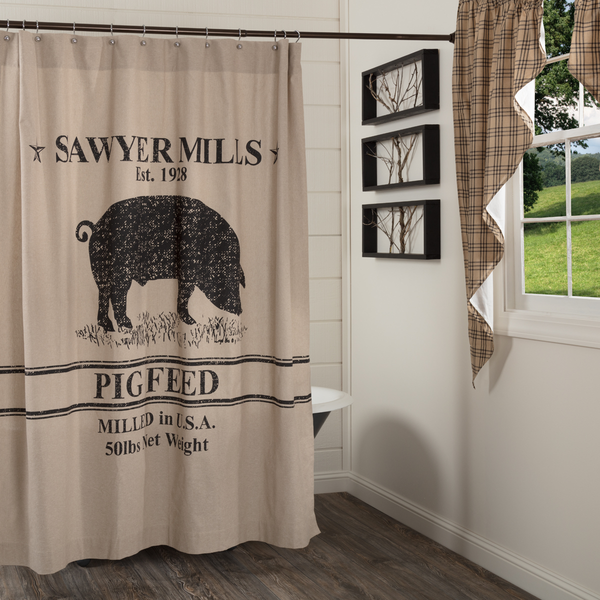 Sawyer Mill Pig Shower Curtain Fabric Shower Curtains Primitive