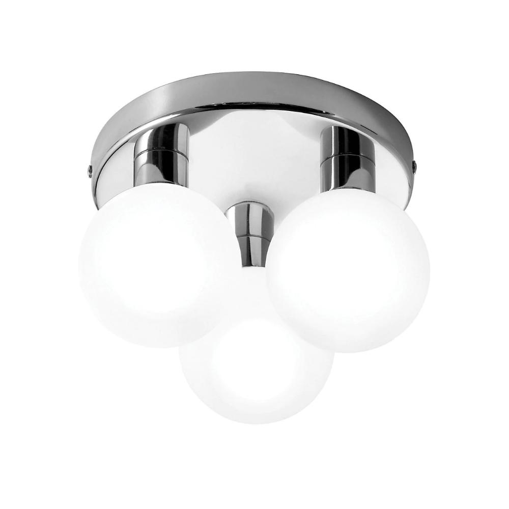 Lagoon Brushed Chrome Effect 3 Lamp Bathroom Ceiling Light