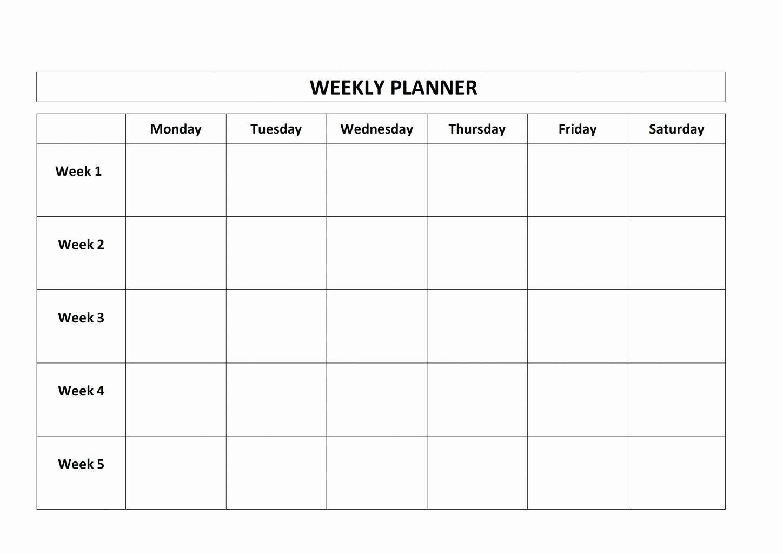 Monday Through Sunday Schedule Template Fresh Monday Through Friday Schedule Printable Weekly Calendar Template Calendar Template Calendar Printables Monday through sunday schedule template