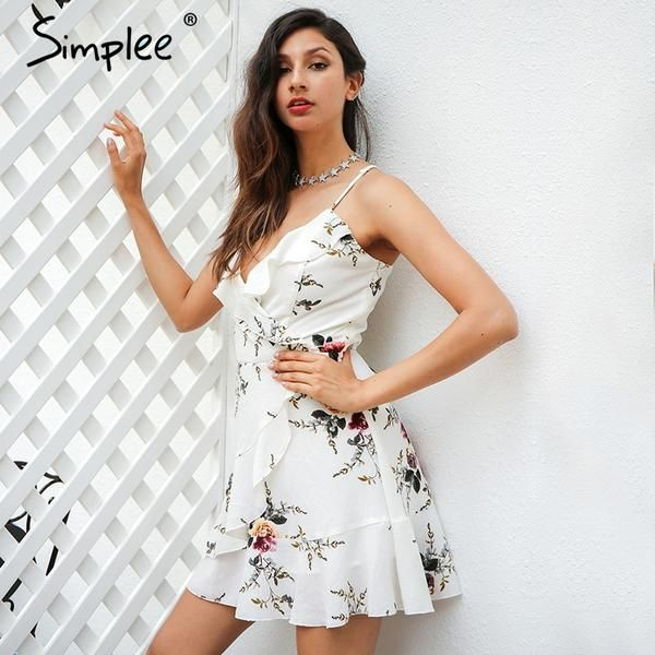 dbca55fed2 Simplee A-line ruffles floral print summer dress women Deep v neck backless  bandage sexy