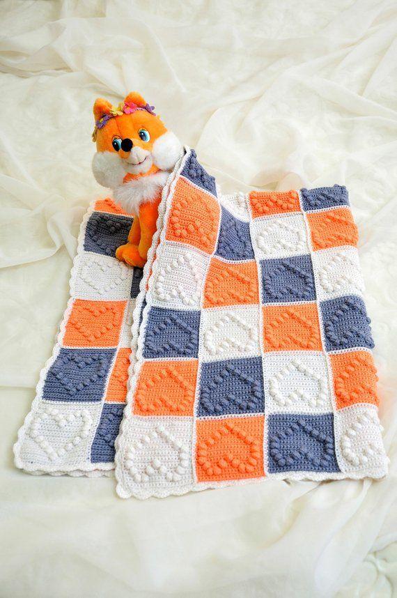 1460f31b659b baby blanket crochet popcorn afghan hearts gift new born girl outfit white  granny squares orange gra