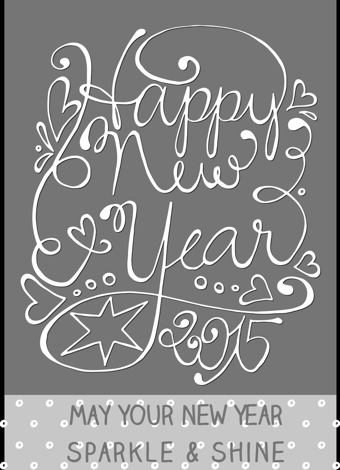 Neujahrskarte - freebie Handgeschriebene Karte zum Download free ...