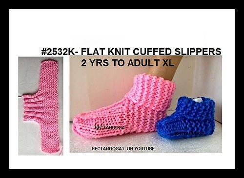 2532- CUFFED slippers pattern by Emi Harrington   Knitting ...