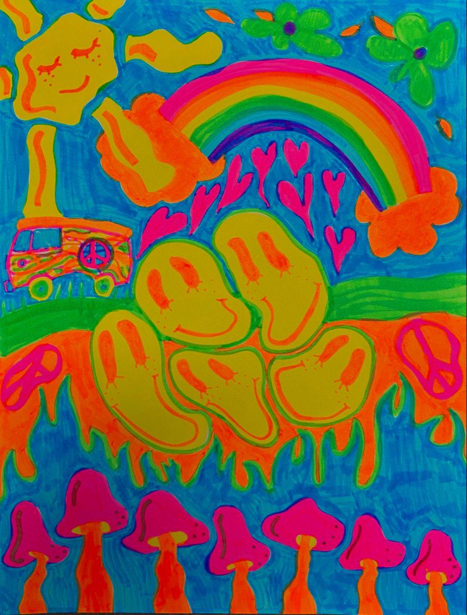 Indie Neon Poster Diy Canvas Art Hippie Painting Trippy Drawings