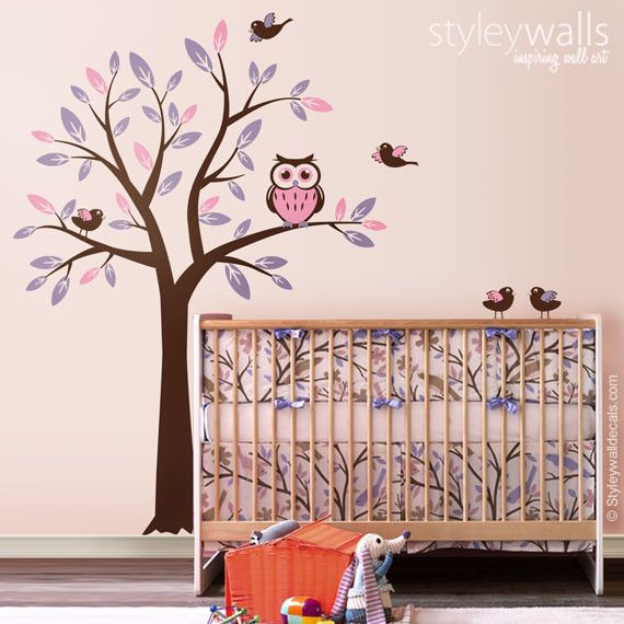 Charming Baum Mit Eule Vögel Wandtattoo Für Kinderzimmer