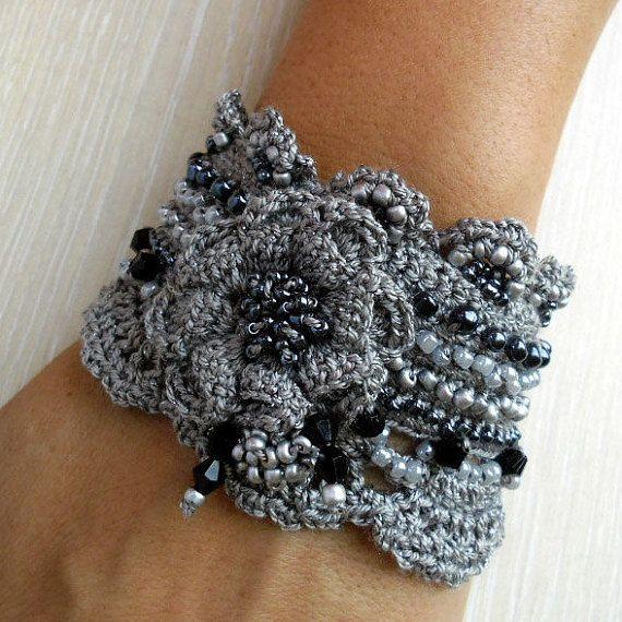 Crochet Bracelet Cuff Beaded Bracelet Cuff Crochet Jewelry