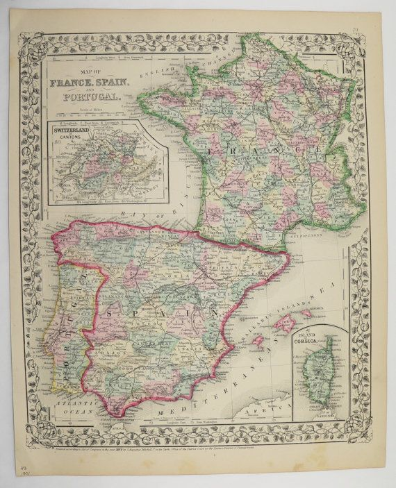 Vintage map of france spain map portugal 1871 mitchell map of spain vintage map of france spain map portugal 1871 mitchell map of spain france map old world map wedding gift for couple 1st anniversary gift gumiabroncs Gallery