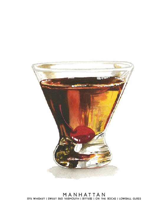 Manhattan Midcentury Cocktail Watercolor Print Etsy Cocktail Illustration Cocktail Art Watercolor Food