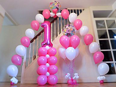 1st Birthday Balloon Decorations Google Search 1st Birthday