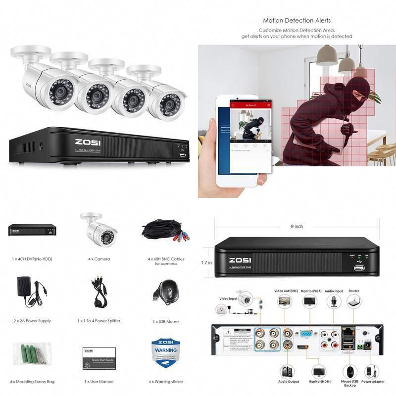 ZOSI 720P 4 Channel Home Surveillance Camera System1080N Security