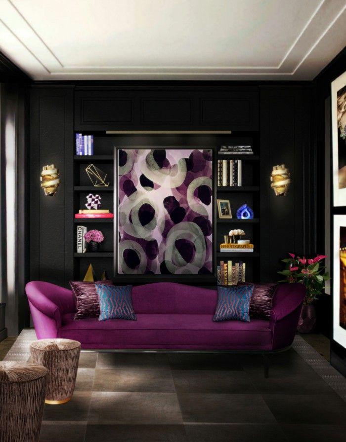 Wall Color Black Purple Sofa Living Room Lighting Dark Living Rooms Living Room Designs Luxury Living Room