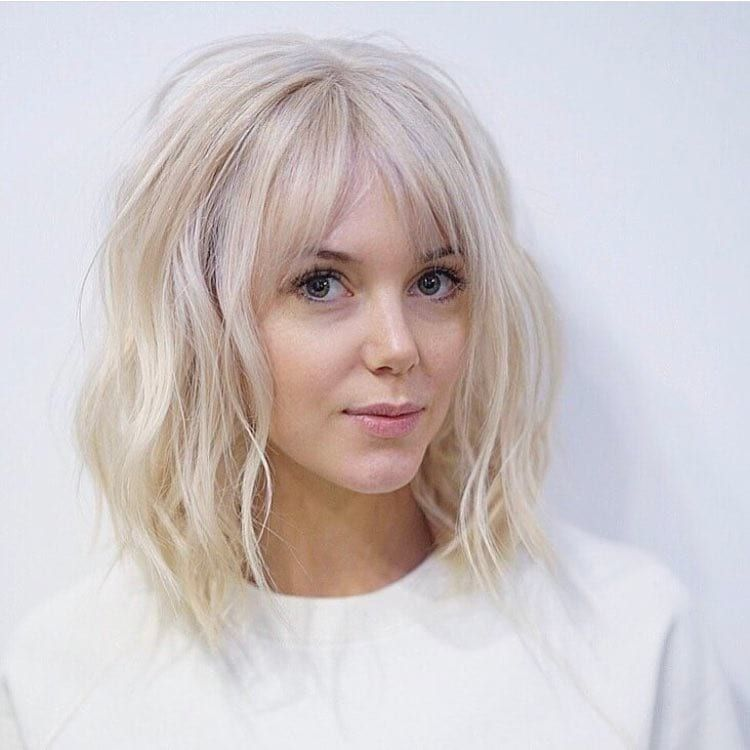 Long Platinum Bob With Wavy Fringe And Parted Bangs Get This