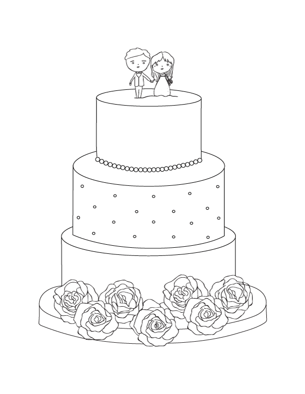 Free Printable Wedding Cake Coloring Page. Download It From  Https://museprintables.com/download/color… Wedding Printables, Free Wedding  Printables, Coloring Pages