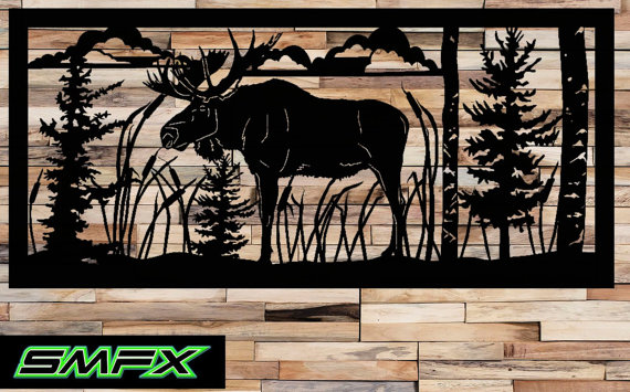 Large Moose Scene Metal Wall Art Rectangle Can Be A Railing Insert Or Just Wall Art Metal Wall Art Art Wall Art