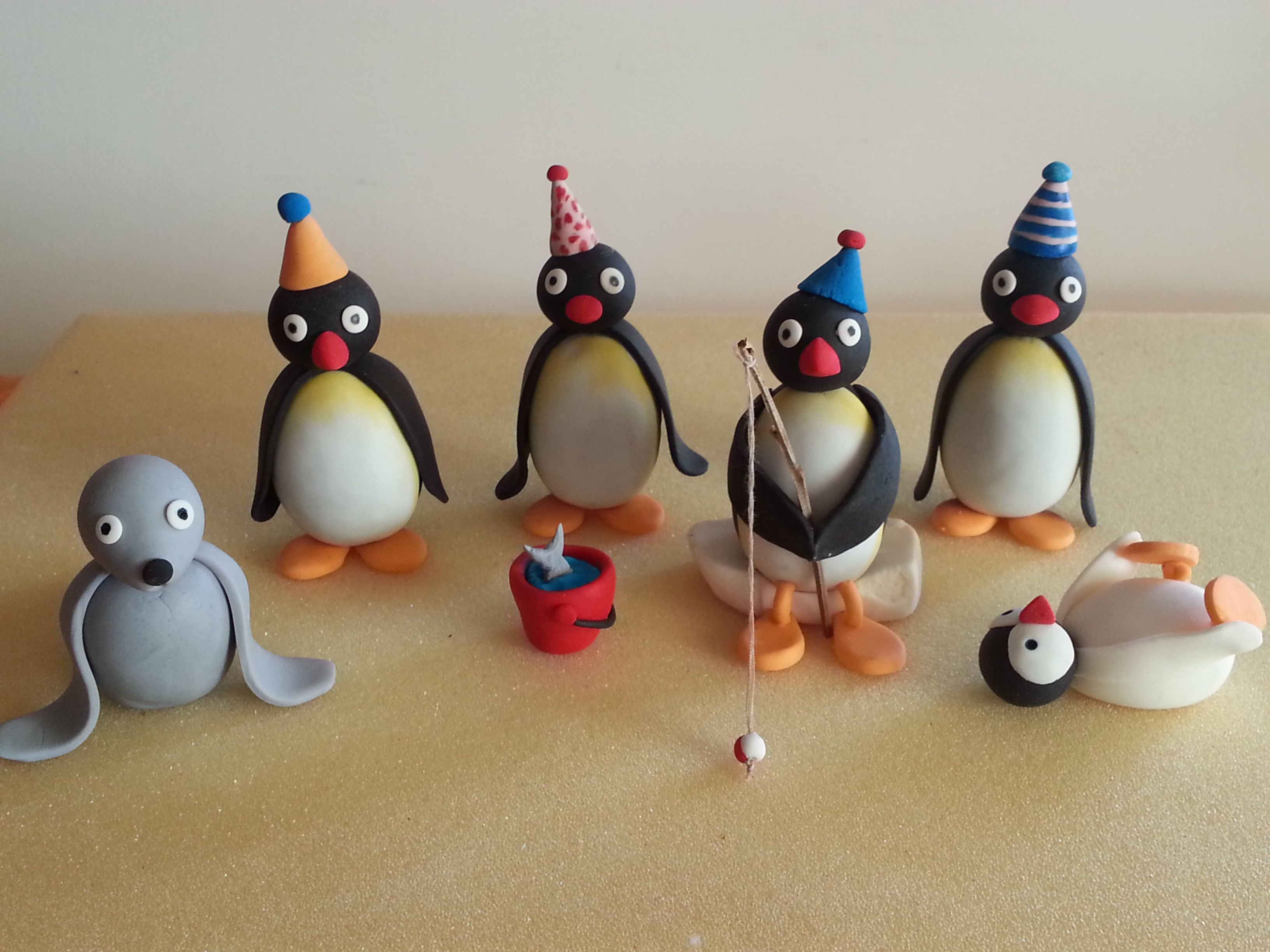 Pingu cake toppers made from Gum paste