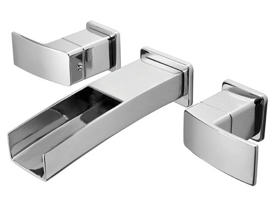 Vessel Sink Faucets Modern Waterfall Trough Wall Mount Faucet Trim  Chrome