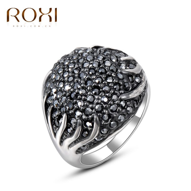 ROXI Brand Rings for Women Fashion Jewelry New Luxury Sparkling Black  Rhinestone Filled White Gold Plated 3d88295c2a67
